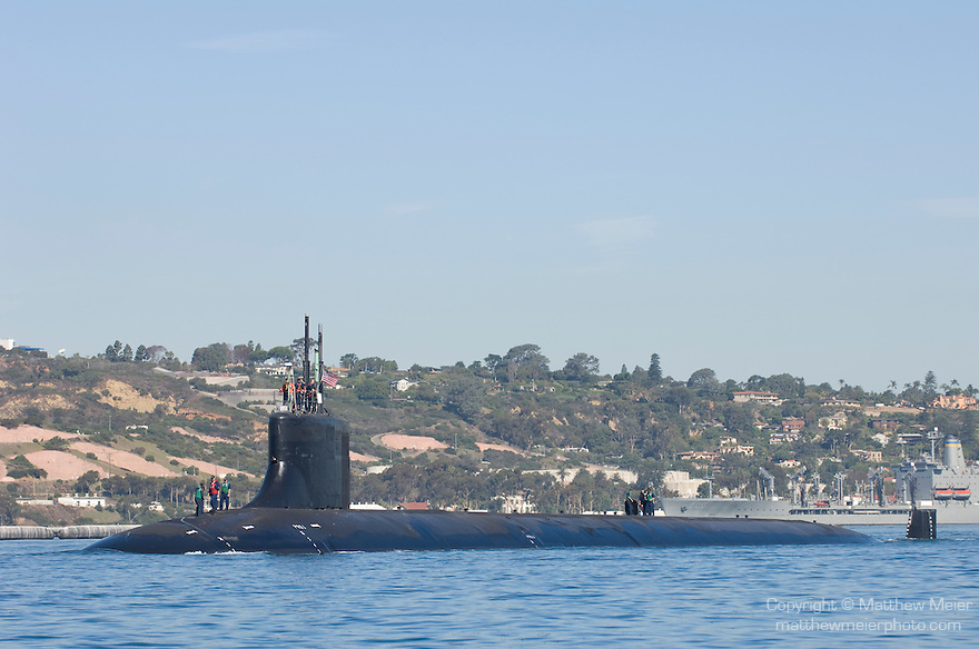 San Diego Bay, San Diego, California; US Navy submarine heading out to sea from the Sub Base at Point Loma