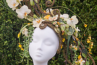 Hat Made from Orchid Flowers & Plants designed by Sarah Horne, Sarah Horne Flowers, Warwickshire, England