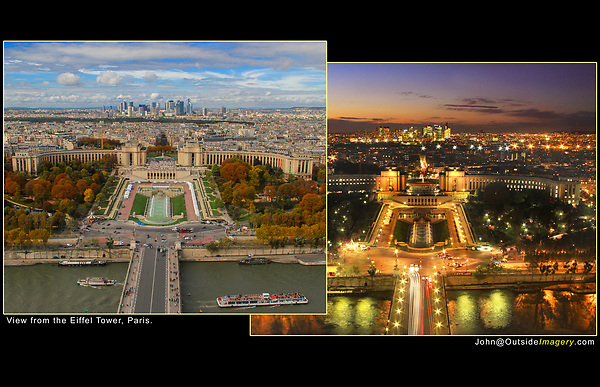 France, Paris.  Eiffel Tower View<br /> A little blue sky adds so much! If I'd cropped out the blue sky, it would look like a cloudy day and be far less appealing. Also, waiting to include the tour boats adds a nice accent to the Seine River (left).<br /> Just after sunset is the best time to take a low light photo from the Eiffel Tower. There's still color in the sky and the city lights look bright. Soon the sky will turn black and it'll be too late.