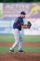 Lowell Spinners starting pitcher Brian Brown (56) gets ready to deliver a pitch during a game against the Auburn Doubledays on July 13, 2018 at Falcon Park in Auburn, New York.  Lowell defeated Auburn 8-5.  (Mike Janes/Four Seam Images)