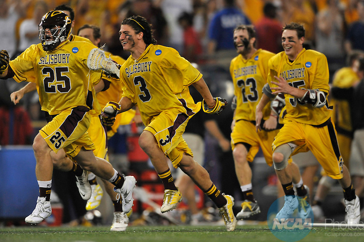 29 MAY 2011:  Salisbury University players rush the field after the win against Tufts University during the Division III Men's Lacrosse Championship held at M+T Bank Stadium in Baltimore, MD.  Salisbury defeated Tufts 19-7 for the national title. Larry French/NCAA Photos