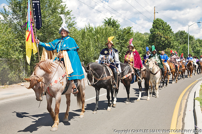 Horsemen participate in the  Entrada or entrance  which is a  part of the  Santa Fe Fiesta held each September.