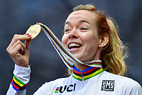 Anna Van Der Breggen celebrates winning the gold medal during the podium ceremony after the Women Elite Road Race<br /> Foto Phonews/Panoramic/Insidefoto <br /> ITAY ONLY