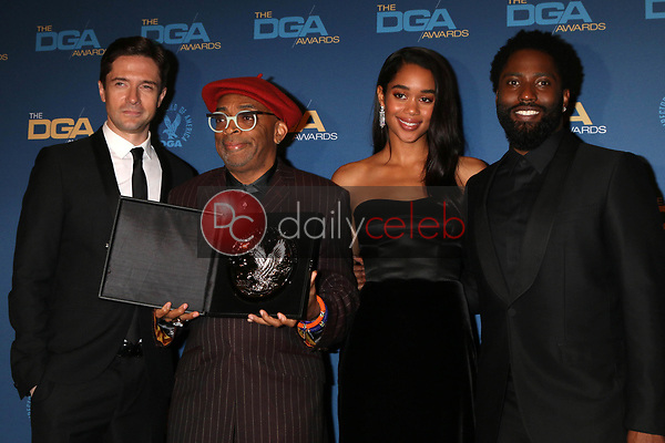 Topher Grace, Spike Lee, Laura Harrier, John David Washington<br /> at the 71st Annual Directors Guild Of America Awards Press Room, Dolby Ballroom, Hollywood, CA 02-02-19<br /> David Edwards/DailyCeleb.com 818-249-4998