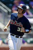 Catcher Will Allen #30 of the Ole Miss Rebels heads to first base during the NCAA Regional baseball game against the Texas Christian University Horned Frogs on June 1, 2012 at Blue Bell Park in College Station, Texas. Ole Miss defeated TCU 6-2. (Andrew Woolley/Four Seam Images).