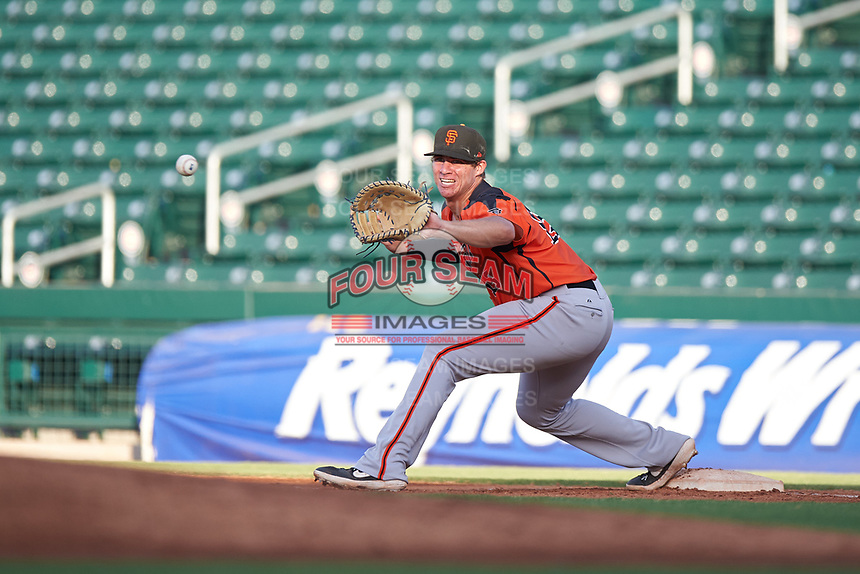AZL Giants Orange first baseman Connor Cannon (13) prepares to catch a throw during an Arizona League game against the AZL Cubs 1 on July 10, 2019 at Sloan Park in Mesa, Arizona. The AZL Giants Orange defeated the AZL Cubs 1 13-8. (Zachary Lucy/Four Seam Images)
