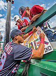 11 September 2016: Washington Nationals catcher Pedro Severino signs autographs prior to a game against the Philadelphia Phillies at Nationals Park in Washington, DC. The Nationals edged out the Phillies 3-2 to take the rubber match of their 3-game series. Mandatory Credit: Ed Wolfstein Photo *** RAW (NEF) Image File Available ***