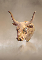 Minoan  bull's head rhython libation vessel, Gournia 1600-1450 BC; Heraklion Archaeological  Museum.