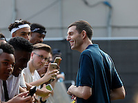 The Crowd chat with Tim Westwood before Travis Scott (Travi$ Scott) performs during The New Look Wireless Music Festival at Finsbury Park, London, England on Friday 03 July 2015. Photo by Andy Rowland.