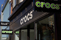 A Crocs store is pictured in Toronto April 19, 2010. Crocs, Inc. is a shoe manufacturer founded by entrepreneur George B. Boedecker, Jr. to produce and distribute a plastic clog design acquired from a Quebec company called Foam Creations.