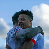 10th February 2019, Belle Vue, Wakefield, England; Betfred Super League rugby, Wakefield Trinity versus St Helens; Regan Grace of St Helens celebrates with Tom Makinson of St Helens  after he scores a try to make it 12-14