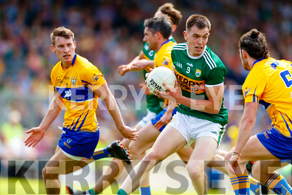 Jack Barry Kerry in action against Cian O'Dea Clare during the Munster GAA Football Senior Championship semi-final match between Kerry and Clare at Fitzgerald Stadium in Killarney on Sunday.