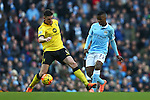 Ciaran Clark of Aston Villa and Kelechi Iheanacho of Manchester City - Barclay's Premier League - Manchester City vs Aston Villa - Etihad Stadium - Manchester - 05/03/2016 Pic Philip Oldham/SportImage