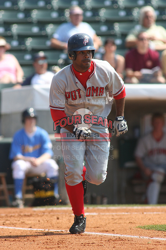 Edgardo Baez of the Potomac Nationals running to first base versus the Myrtle Beach Pelicans at BB&T Coastal Field in Myrtle Beach, SC on May 7, 2008