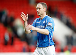 St Johnstone v Celtic...13.12.15  SPFL  McDiarmid Park, Perth<br /> Steven Anderson applauds the fans at full time<br /> Picture by Graeme Hart.<br /> Copyright Perthshire Picture Agency<br /> Tel: 01738 623350  Mobile: 07990 594431