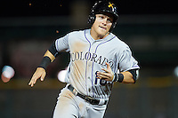 Salt River Rafters Pat Valaika (18), of the Colorado Rockies organization, during a game against the Scottsdale Scorpions on October 12, 2016 at Scottsdale Stadium in Scottsdale, Arizona.  Salt River defeated Scottsdale 6-4.  (Mike Janes/Four Seam Images)