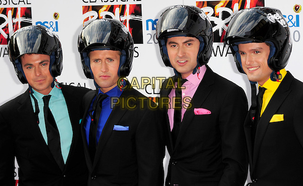 BLAKE .Attending the Classical BRIT Awards at the Royal Albert Hall in London, England, UK, May 13th, 2010. .Brits arrivals portrait headshot  group band matching tie pink green yellow shirt black helmet crash helmets .CAP/CJ.©Chris Joseph/Capital Pictures.