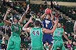 North Texas Mean Green guard Roger Franklin (32), North Texas Mean Green forward Keith Coleman (44) guard Jackson State Tigers guard Jeff Stubbs (4) during the game between the Jackson State Tigers and the North Texas Mean Green at the Super Pit arena in Denton, Texas. UNT defeats Jackson State 83 to 65...