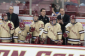 Colin Sullivan (BC - 2), Jim Logue (BC - Assistant Coach), Quinn Smith (BC - 27), Patrick Brown (BC - 23), Tom Maguire (BC - Senior Manager), Destry Straight (BC - 17), Mike Cavanaugh (BC - Associate Head Coach), Brooks Dyroff (BC - 14) - The Boston College Eagles defeated the visiting University of Vermont Catamounts to sweep their quarterfinal matchup on Saturday, March 16, 2013, at Kelley Rink in Conte Forum in Chestnut Hill, Massachusetts.