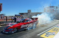 Oct. 27, 2012; Las Vegas, NV, USA: NHRA funny car driver Cruz Pedregon during qualifying for the Big O Tires Nationals at The Strip in Las Vegas. Mandatory Credit: Mark J. Rebilas-