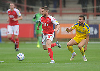 Fleetwood Town's Conor McAleny under pressure from AFC Wimbledon's Luke O'Neill<br /> <br /> Photographer Kevin Barnes/CameraSport<br /> <br /> The EFL Sky Bet Championship - Fleetwood Town v AFC Wimbledon - Saturday 10th August 2019 - Highbury Stadium - Fleetwood<br /> <br /> World Copyright © 2019 CameraSport. All rights reserved. 43 Linden Ave. Countesthorpe. Leicester. England. LE8 5PG - Tel: +44 (0) 116 277 4147 - admin@camerasport.com - www.camerasport.com