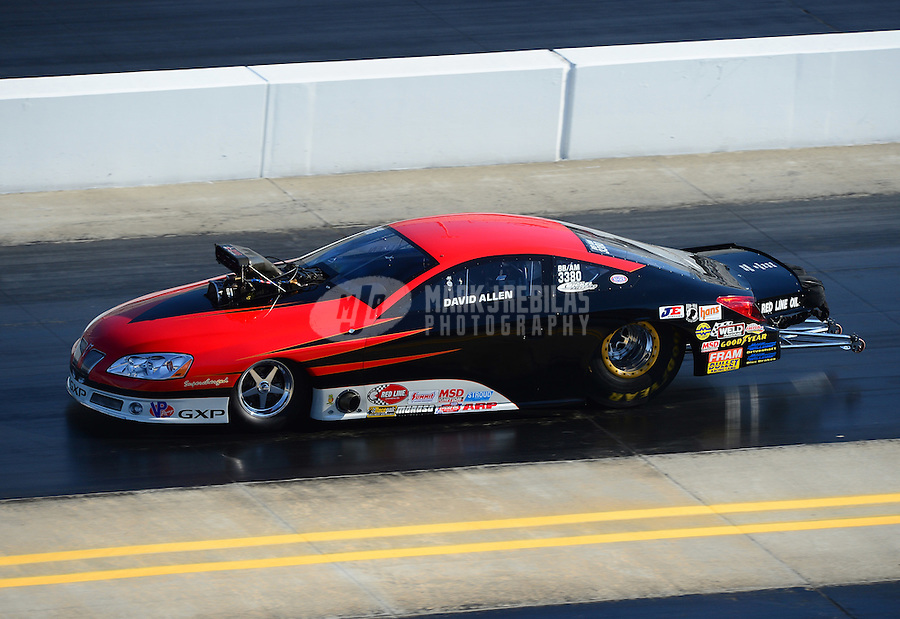 Apr. 14, 2012; Concord, NC, USA: NHRA competition eliminator driver Dave Allen during qualifying for the Four Wide Nationals at zMax Dragway. Mandatory Credit: Mark J. Rebilas-