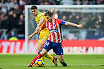 Gabriel Fernandez Arenas, Gabi (R), of Atletico de Madrid battles for the ball with Gabriel Martin Penalba of UD Las Palmas during the La Liga 2017-18 match between Atletico de Madrid and UD Las Palmas at Wanda Metropolitano on January 28 2018 in Madrid, Spain. Photo by Diego Souto / Power Sport Images