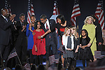 The families of President and Vice-President Elect Barack Obama and Jospeh Biden are seen on stage after Barack Obama's victory speech on election night 2008 in Grant Park in Chicago, Illinois on November 4, 2008.