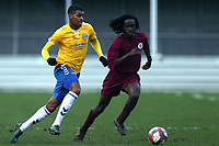 Jordan Sanderson of Woodford and Emannuel Oluwole of Leyton Athletic during Leyton Athletic vs Woodford Town, Essex Senior League Football at Wadham Lodge Sports Ground on 1st December 2018