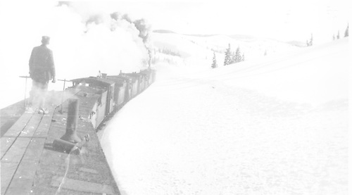 Rotary throwing snow with four engines pushing.<br /> D&amp;RGW  near Cumbres Pass, CO
