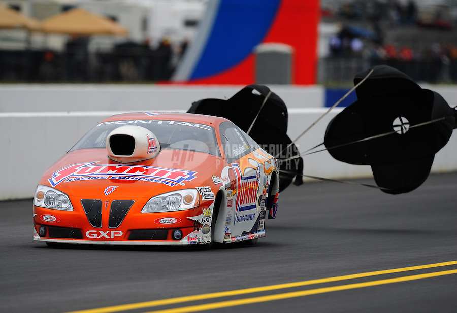 Sept. 17, 2011; Concord, NC, USA: NHRA pro stock driver Jason Line during qualifying for the O'Reilly Auto Parts Nationals at zMax Dragway. Mandatory Credit: Mark J. Rebilas-