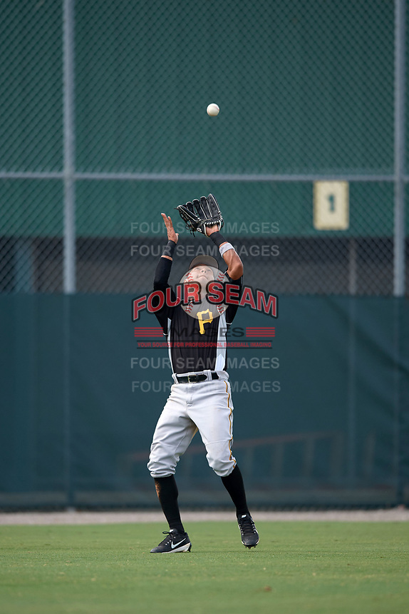 Pittsburgh Pirates Cristian Navarro (2) catches a fly ball during an Instructional League intrasquad black and gold game on September 28, 2017 at Pirate City in Bradenton, Florida.  (Mike Janes/Four Seam Images)