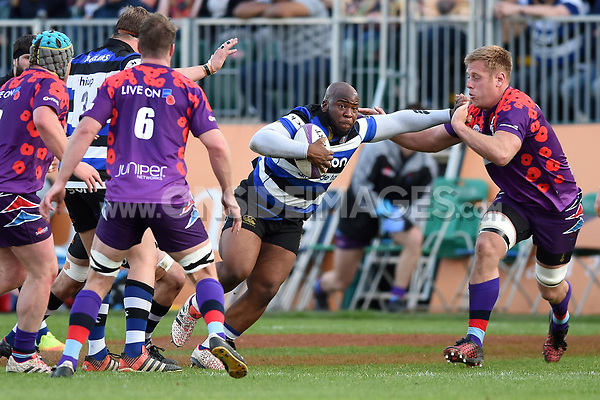 Beno Obano of Bath United takes on the UK Armed Forces defence. Remembrance Rugby match, between Bath United and the UK Armed Forces on May 10, 2017 at the Recreation Ground in Bath, England. Photo by: Patrick Khachfe / Onside Images