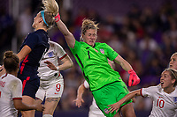 5th March 2020, Orlando, Florida, USA;  the United States goalkeeper Alyssa Naeher (1) punches the ball away from goal during the SheBelieves Cup match between England and the USA on March 5, 2020, at Exploria Stadium in Orlando FL.
