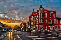 Holmes Hotel in Westerville OH at sunrise.