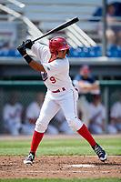 Auburn Doubledays shortstop Jose Sanchez (9) at bat during a game against the Batavia Muckdogs on June 17, 2018 at Falcon Park in Auburn, New York.  Auburn defeated Batavia 10-8.  (Mike Janes/Four Seam Images)