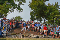 Tommy Fleetwood (ENG) chips from the rocks on 11 during 4th round of the 100th PGA Championship at Bellerive Country Club, St. Louis, Missouri. 8/12/2018.<br /> Picture: Golffile   Ken Murray<br /> <br /> All photo usage must carry mandatory copyright credit (© Golffile   Ken Murray)
