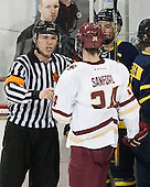 Geoff Miller - The Boston College Eagles defeated the visiting Merrimack College Warriors 2-1 on Wednesday, January 21, 2015, at Kelley Rink in Conte Forum in Chestnut Hill, Massachusetts.