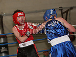 Jamie O'Meara, Drogheda Boxing Club (Red) and Daniel Waugh, Rathfriland (Blue) at the Boxing Championships at St. Cianan's Boxing Club, Duleek.<br /> <br /> Photo: Jenny Matthews