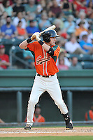 Center fielder Ryan Aper (23) of the Greensboro Grasshoppers in a game against the Greenville Drive on Tuesday, August 25, 2015, at Fluor Field at the West End in Greenville, South Carolina. Greenville won, 7-0. (Tom Priddy/Four Seam Images)