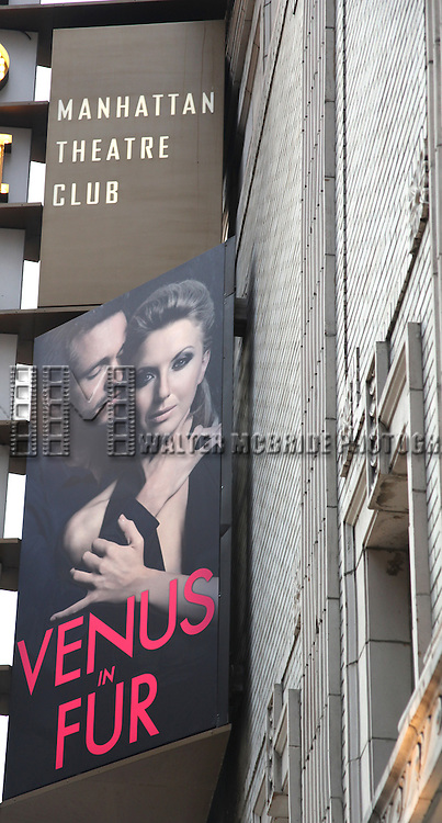 'Venus in Fur'  Theatre Marquee Unveiling at the Samuel J. Friedman Theatre in New York City.