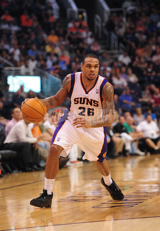 Mar. 27, 2012; Phoenix, AZ, USA; Phoenix Suns guard Shannon Brown during game against the San Antonio Spurs at the US Airways Center. The Spurs defeated the Suns 107-100. Mandatory Credit: Mark J. Rebilas-