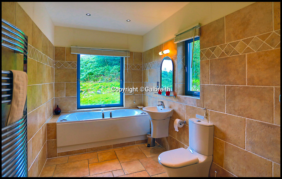 BNPS.co.uk (01202 558833)Pic: Galbraith/BNPS<br /> <br /> Loch at that view...<br /> <br /> A stunning eco lodge with cathedral-like windows to enjoy the stunning views of the Scottish Highlands is on the market for £450,000.<br /> <br /> Aspen Lodge sits in a secluded plot of land in Glenborrodale overlooking Loch Sunart and has been run as a successful holiday let since it was built six years ago.<br /> <br /> The beautifully-designed property has been made an energy-efficient as possible and all the stone and timber used was sourced locally - the Norwegian Spruce tree trunks travelled just four miles from the woodland to the house and the stone was gathered from the house site itself.<br /> <br /> It is now on the market for the first time with Galbraith.