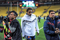 France's Benjamin Fall walks in after the Steinlager Series international rugby match between the New Zealand All Blacks and France at Westpac Stadium in Wellington, New Zealand on Saturday, 16 June 2018. Photo: Dave Lintott / lintottphoto.co.nz