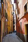 One of the narrow streets in the old part of Nice, France