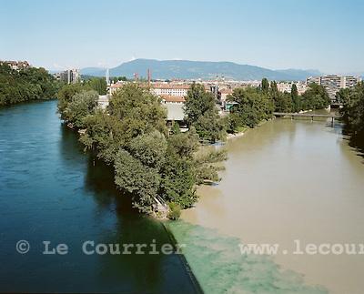 Genève, le 08.2008.Jonction du Rhône et de l'Arve..© Le Courrier / J.-P. Di Silvestro