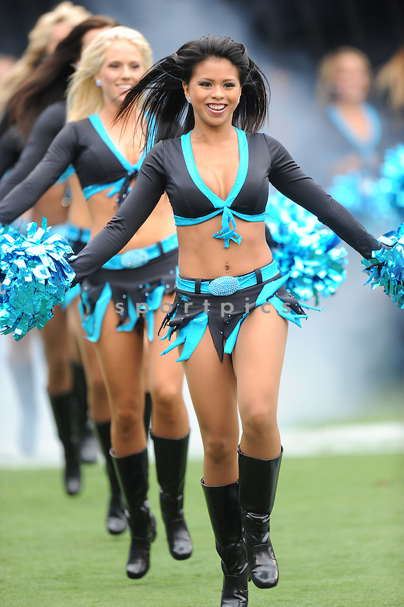 CHEERLEADERS, of the Carolina Panthers, in action during the Panthers game against the Green Bay Packers on September 18, 2011 at Bank of America Stadium in Charlotte, NC. The Packers beat the Panthers 30-23.