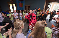 President Jonathan Veitch. To the rhythmic thumps of taiko drummers, 508 members of the Class of 2020 trooped into Thorne Hall on Aug. 30, 2016 for Occidental College's 129th Convocation ceremony, a tradition that formally marks the start of the academic year and welcomes the new class. Trustees, faculty and staff welcomed the incoming class.<br /> (Photo by Marc Campos, Occidental College Photographer)