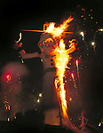 "Flames engulf Zozobra (""Old Man Gloom"") as part of the annual Fiesta de Santa Fe, New Mexico"