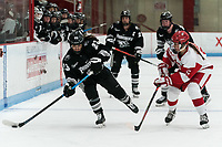 BOSTON, MA - JANUARY 11: Annelise Rice #23 of Providence College on the attack as Courtney Correia #5 of Boston University defends during a game between Providence College and Boston University at Walter Brown Arena on January 11, 2020 in Boston, Massachusetts.